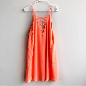 Everly Bright Orange Cami Shift Dress Strappy Back